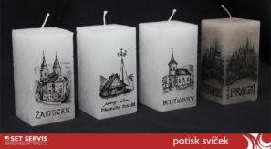 svíčka s potiskem, reklamní svíčka, tisk na svíčku
